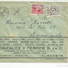 Sellos: CIRCULADA TRANSICION FILATELICA 1931 DE ALBACETE A IGUALADA BARCELONA CON FECHADOR LLEGADA. Lote 81866424