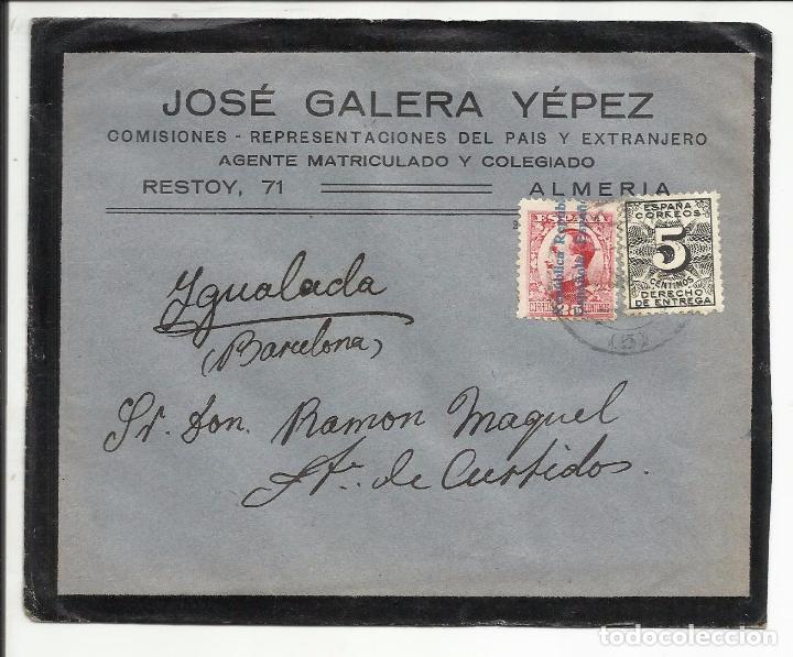 CIRCULADA TRANSICION FILATELICA 1931 DE ALMERIA A IGUALADA BARCELONA CON FECHADOR LLEGADA (Sellos - España - II República de 1.931 a 1.939 - Cartas)