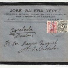Sellos: CIRCULADA TRANSICION FILATELICA 1931 DE ALMERIA A IGUALADA BARCELONA CON FECHADOR LLEGADA. Lote 81866560