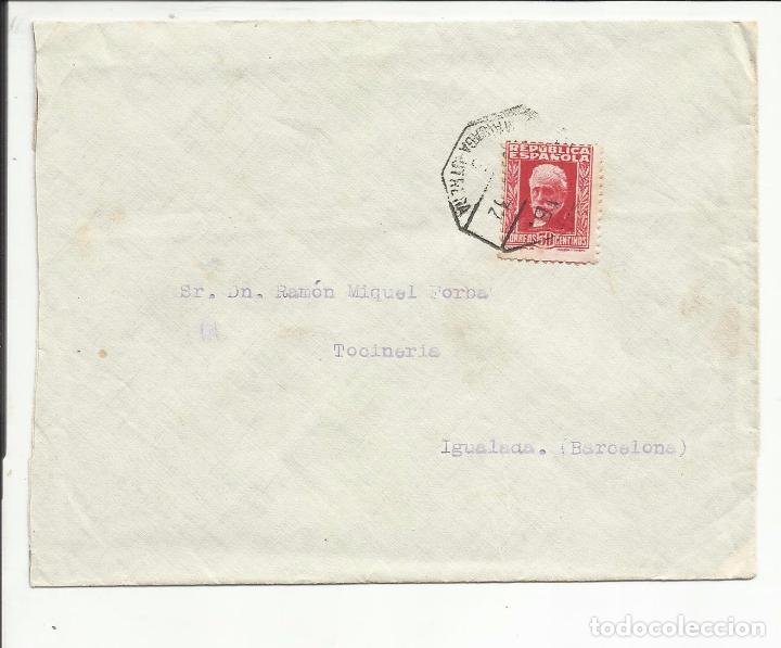 CIRCULADA 1931 DE MALAGA A IGUALADA BARCELONA CON AMBULANTE UTRERA (Sellos - España - II República de 1.931 a 1.939 - Cartas)