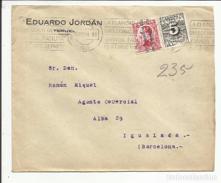 CIRCULADA TRANSICION FILATELICA 1931 DE TERUEL A IGUALADA BARCELONA (Sellos - España - II República de 1.931 a 1.939 - Cartas)