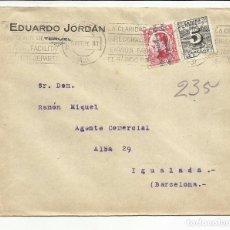 Sellos: CIRCULADA TRANSICION FILATELICA 1931 DE TERUEL A IGUALADA BARCELONA . Lote 81869636