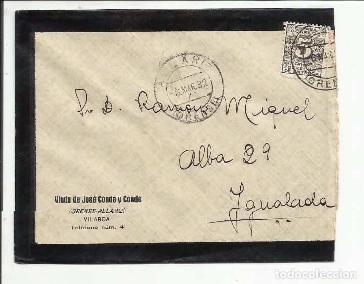 CIRCULADA TRANSICION FILATELICA 1932 DE ALLARIZ ORENSE A IGUALADA BARCELONA (Sellos - España - II República de 1.931 a 1.939 - Cartas)
