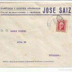 Sellos: CIRCULADA 1932 DE BURGOS A IGUALADA BARCELONA CON MATASELLO DE LLEGADA. Lote 81876076