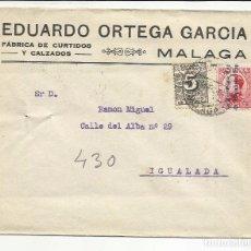 Sellos: CIRCULADA 1932 TRANSICION FILATELICA DE MALAGA A IGUALADA BARCELONA CON FECHADOR LLEGADA. Lote 81876528