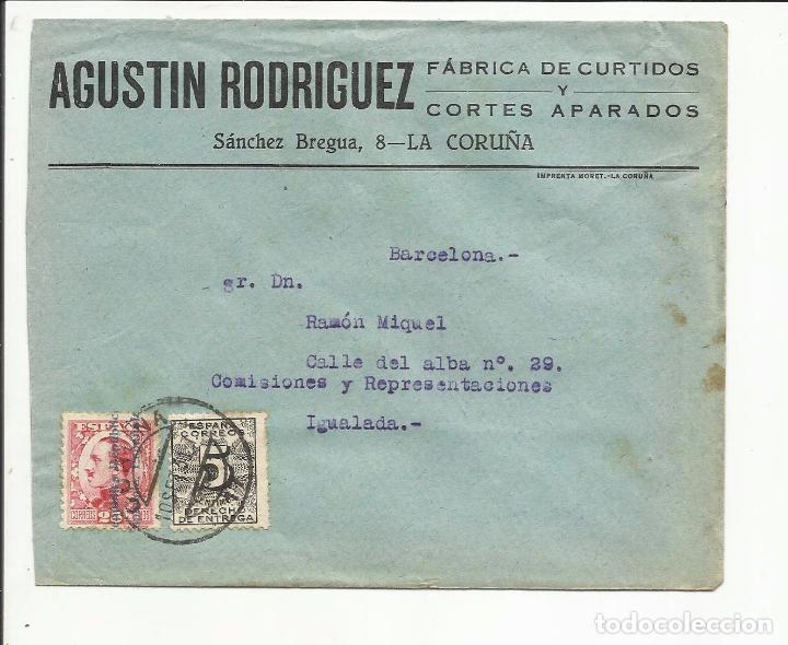 CIRCULADA 1931 TRANSICION FILATELICA DE LA CORUÑA A IGUALADA BARCELONA CON FECHADOR LLEGADA (Sellos - España - II República de 1.931 a 1.939 - Cartas)