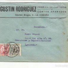 Sellos: CIRCULADA 1931 TRANSICION FILATELICA DE LA CORUÑA A IGUALADA BARCELONA CON FECHADOR LLEGADA. Lote 81876592