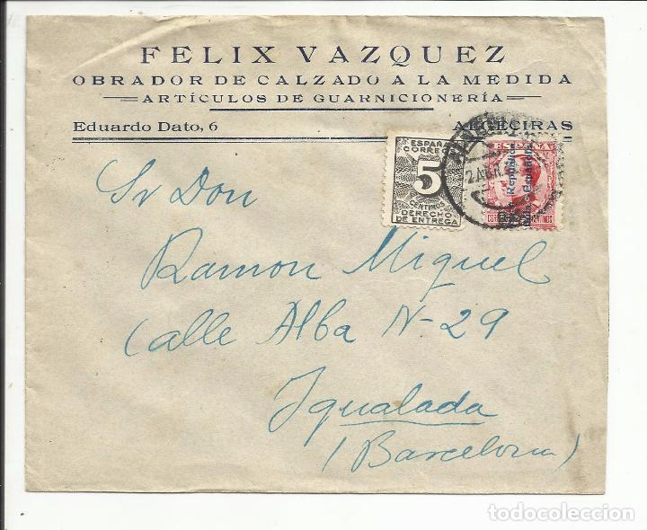 CIRCULADA 1932 TRANSICION FILATELICA DE ALGECIRAS CADIZ A IGUALADA BARCELONA CON FECHADOR LLEGADA (Sellos - España - II República de 1.931 a 1.939 - Cartas)