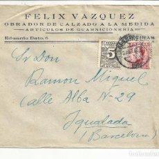 Sellos: CIRCULADA 1932 TRANSICION FILATELICA DE ALGECIRAS CADIZ A IGUALADA BARCELONA CON FECHADOR LLEGADA. Lote 81876712