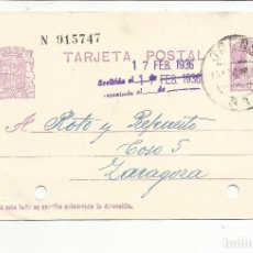 Sellos: TARJETA CIRCULADA 1936 DE ORENSE A A ZARAGOZA CON FECHADOR RODILLO LLEGADA. Lote 81902620