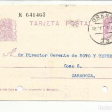 Sellos: TARJETA CIRCULADA 1935 DE ORENSE A A ZARAGOZA . Lote 81902908