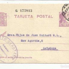 Sellos: TARJETA CIRCULADA 1932 DE VIGO PONTEVEDRA A ZARAGOZA MARCA AMBULANTE EXPRESO VIGO MADRID. Lote 81903536
