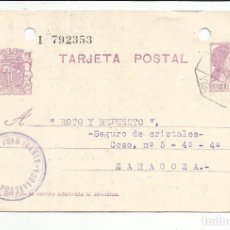 Sellos: TARJETA CIRCULADA 1935 DE PONTEVEDRA A ZARAGOZA MARCA AMBULANTE VIGO . Lote 81903636