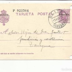 Sellos: TARJETA CIRCULADA 1932 DE OLITE NAVARRA A ZARAGOZA . Lote 81903996