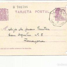 Sellos: TARJETA CIRCULADA 1932 DE VILLAFRANCA NAVARRA A ZARAGOZA FECHADOR AMBULANTE MIXTO PAMPLONA ZARAGOZA. Lote 81904152