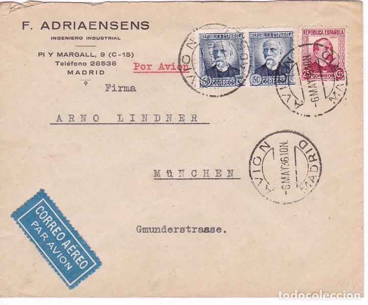 Sellos: F15-65- Carta F.Adriaensens AVION Madrid -Alemania 1936. - Foto 1 - 82257896