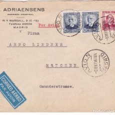 Sellos: F15-65- CARTA F.ADRIAENSENS AVION MADRID -ALEMANIA 1936. . Lote 82257896