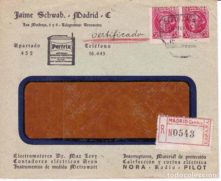 F15-57- CARTA CERTIFICADO PUBLICITARIA MADRID-N.YORK 1935. VER DORSO (Sellos - España - II República de 1.931 a 1.939 - Cartas)