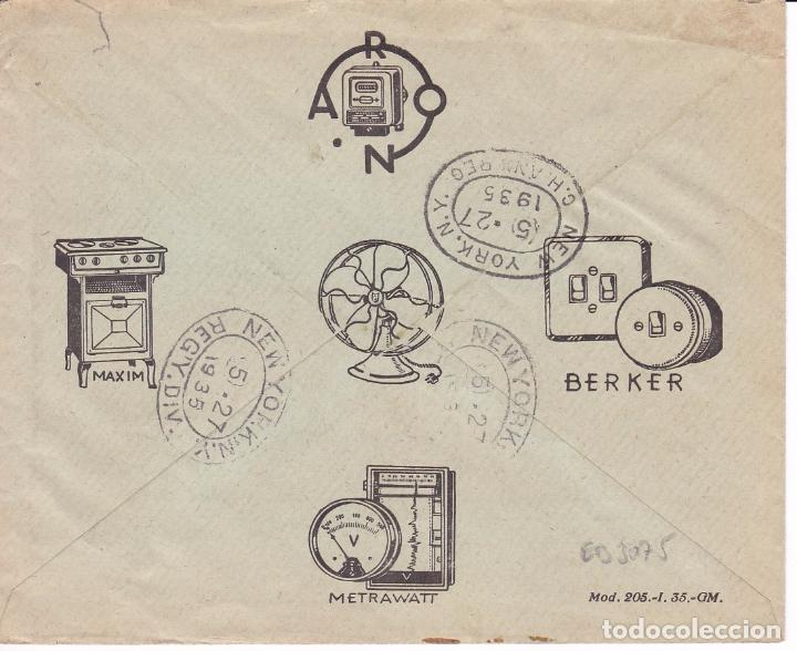 Sellos: F15-57- Carta Certificado Publicitaria Madrid-N.York 1935. Ver dorso - Foto 2 - 82276304