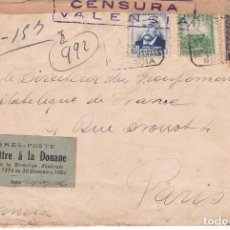 Timbres: HP10-27- CARTA MURCIA- PARIS 1937. INTERESANTE ETIQUETA ADUANAS/ SELLOS. Lote 82292448