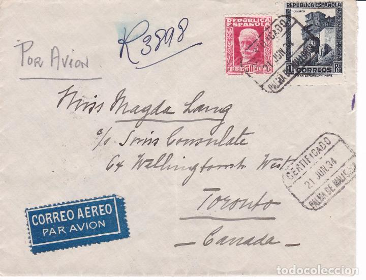 F15-42- CARTA CERTIFICADO PALMA MALLORCA-CANADÁ-1934. TRÁNSITO AMB. MARITÍMA BARCELONA-PALMA (Sellos - España - II República de 1.931 a 1.939 - Cartas)