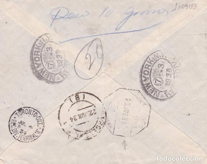 Sellos: F15-42- Carta Certificado Palma Mallorca-Canadá-1934. Tránsito Amb. Maritíma Barcelona-Palma - Foto 2 - 82300136