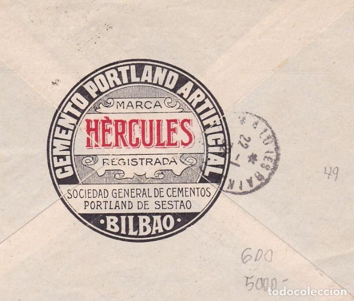 Sellos: F15-32- Carta Publicidad Cementos Portland de Sestao .BILBAO-FRANCIA 1932. Ver Dorso - Foto 2 - 82304236