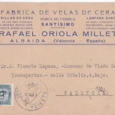 Sellos - F15-3-Tarjeta Postal Fábrica Velas ALBAIDA-VALENCIA 1934. Dorso rodillo llegada - 82365444