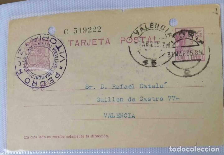 TARJETA POSTAL. MATRONA. VITORIA REPÚBLICA ESPAÑOLA 15C. 31MAR1935. (Sellos - España - II República de 1.931 a 1.939 - Cartas)