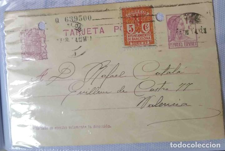 TARJETA POSTAL. BARCELONA. REPÚBLICA ESPAÑOLA 15C . AYUN. BARNA 5C. ENE1934. (Sellos - España - II República de 1.931 a 1.939 - Cartas)