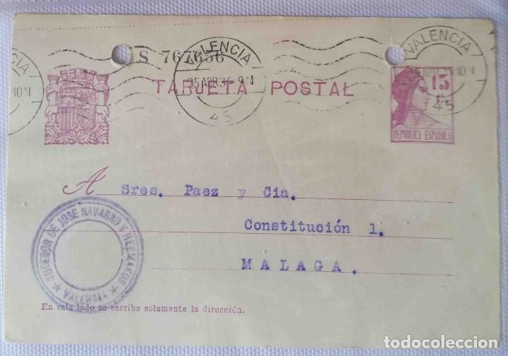 TARJETA POSTAL. VALENCIA REPÚBLICA ESPAÑOLA 15C. 25ABR1934. (Sellos - España - II República de 1.931 a 1.939 - Cartas)