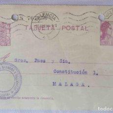 Sellos: TARJETA POSTAL. VALENCIA REPÚBLICA ESPAÑOLA 15C. 25ABR1934.. Lote 83717820