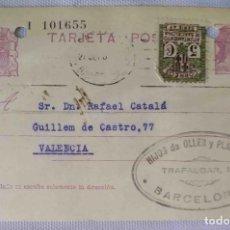 Sellos: TARJETA POSTAL. BARCELONA. REPÚBLICA ESPAÑOLA 15C. AYUN. BARNA 5C. SEP1934.. Lote 83717888