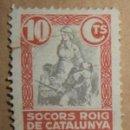 Sellos: SOCORS ROIG DE CATALUNYA 10 CTS SECCIO SRI (GRIETA). Lote 85963636