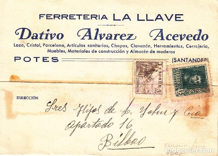 TARJETA POSTAL: POTES 10-2-39 FERRETERIA LA LLAVE - BILBAO (Sellos - España - II República de 1.931 a 1.939 - Cartas)