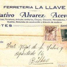 Sellos: TARJETA POSTAL: POTES 10-2-39 FERRETERIA LA LLAVE - BILBAO . Lote 86309656
