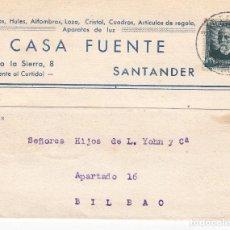 Sellos: TARJETA POSTAL: SANTANDER 22-5-1934 CASA FUENTE - BILBAO. Lote 86309776