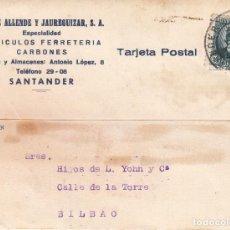 Sellos: TARJETA POSTAL: 28-8-1934 SANTANDER - BILBAO. Lote 86310604