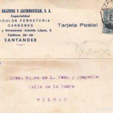 Sellos: TARJETA POSTAL: 22-8-1934 SANTANDER - BILBAO. Lote 86310636