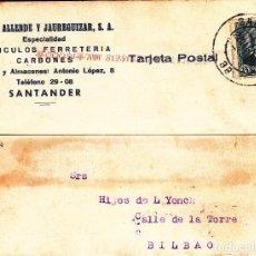 Sellos: TARJETA POSTAL: 9-9-1934 SANTANDER - BILBAO. Lote 86310756