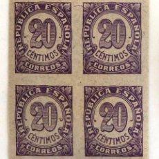 Sellos: SELLOS DE ESPAÑA 1938. CIFRAS. 20 CTS. BLOQUE DE CUATRO. NUEVOS. SIN DENTAR. EDIFIL 748.. Lote 90199604