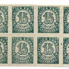 Sellos: SELLOS DE ESPAÑA 1938. CIFRAS. 15 CTS. BLOQUE DE OCHO. NUEVOS. SIN DENTAR. EDIFIL 747.. Lote 90199756