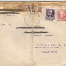 Sellos: SEGUNDA REPUBLICA 1936 ALMERIA A LONDRES CON MARCA DE CENSURA . Lote 90561685