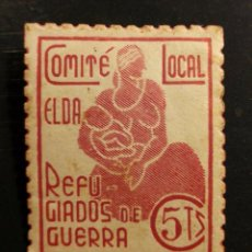 Sellos: ELDA - COMITE LOCAL REFUGIADOS DE GUERRA - 5 CTS. ROJO - GUERRA CIVIL ALICANTE. Lote 92275615