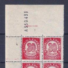 Sellos: EDIFIL 750 CIFRAS 1938 (VARIEDAD...ERROR COMPOSICIÓN FLORONES DE LOS SELLOS DE LA IZQUIERDA). MNH **. Lote 92871775