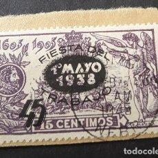 Sellos: ESPAÑA,1938,FIESTA DEL TRABAJO,EDIFIL 761,MUY RARO MATASELLO,LEER DESCRIPCIÓN,(LOTE AR). Lote 94176125