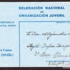 Sellos: ESPAÑA 1938 TARJETA DE LA ORGANIZACIÓN JUVENIL DE LA FALANGE ESPAÑOLA DE LAS JONS. CIRCULADA DE VIV. Lote 95291096
