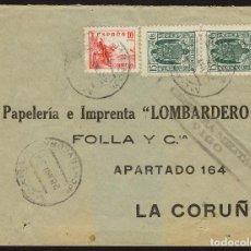 Sellos: ESPAÑA 1939 SOBRE - CENSURA MILITAR VIGO, SELLOS ESPECIAL MÓVLI. CARTA COMERCIAL DE MOAÑA A LA CORU. Lote 95291100