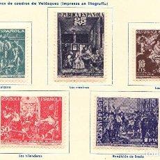 Sellos: 1938 - CUADROS DE VELAZQUEZ - HOGAR ESCUELA HUERFANOS DE CORREOS - EDIFIL 29 A 33 - SERIE COMPLETA. Lote 96789543