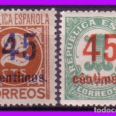 Sellos: 1938 CIFRAS HABILITADOS, EDIFIL Nº 742 Y 744 * *. Lote 97377699